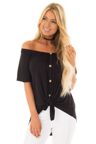Black Off the Shoulder Top with Button Details front close up