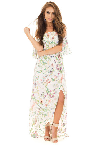Off White Floral Print Off Shoulder Hi Low Dress front full body