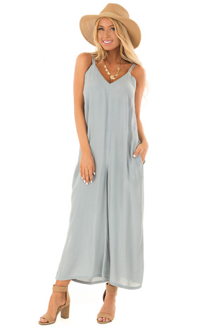 Dusty Blue V Neck Jumpsuit with Pockets front full body