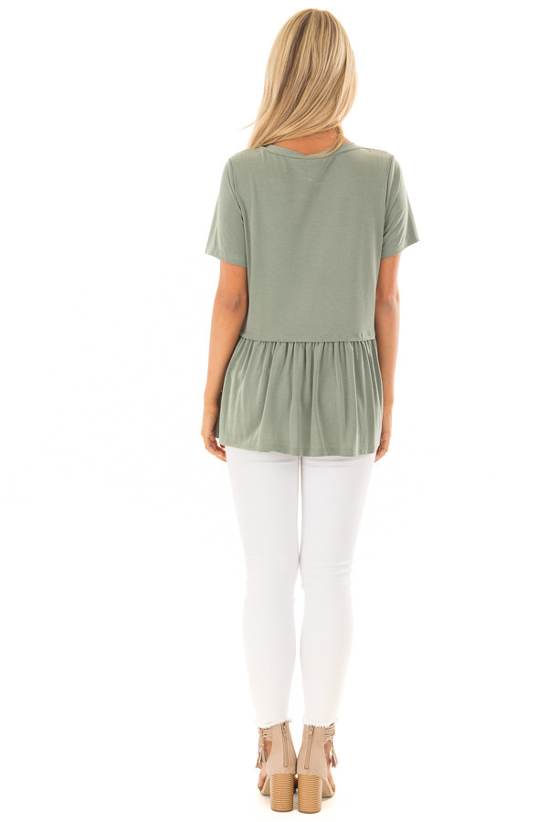 Olive Short Sleeve Peplum Top back full body