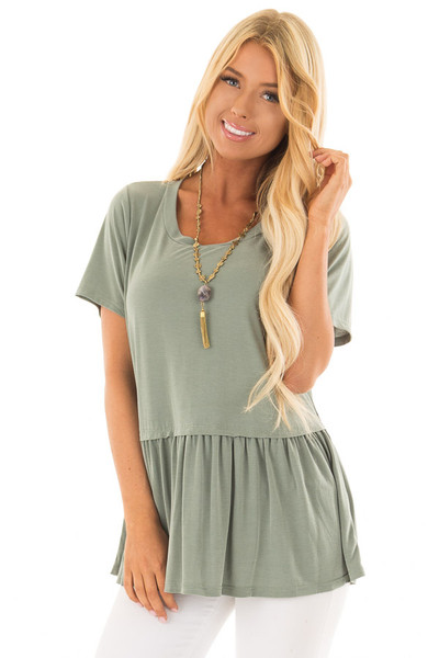 Olive Short Sleeve Peplum Top front close up