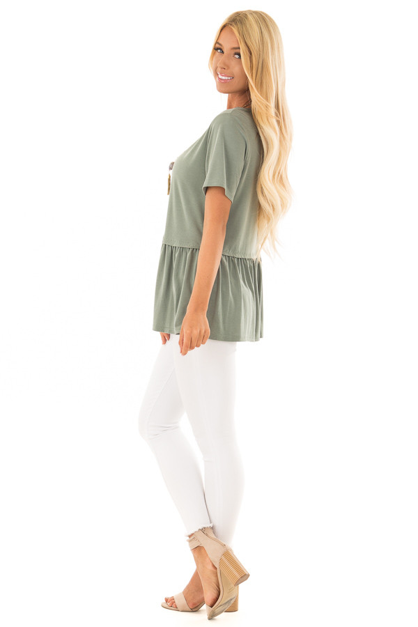 Olive Short Sleeve Peplum Top side full body