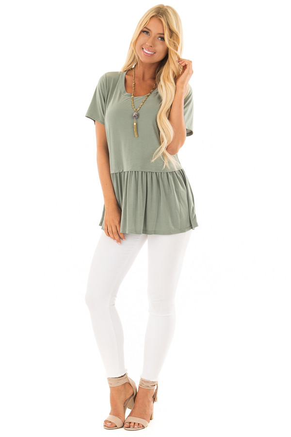 Olive Short Sleeve Peplum Top front full body