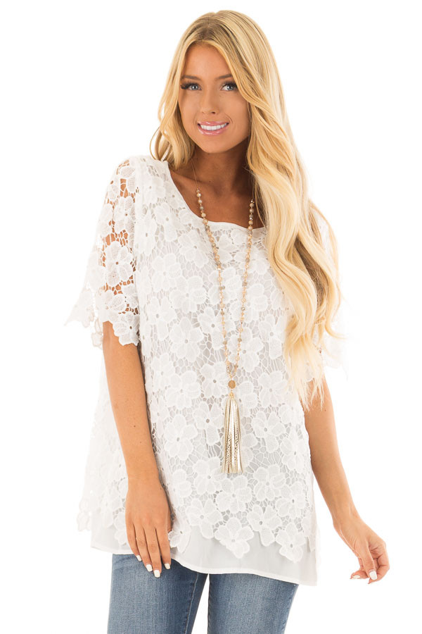 Off White Sheer Floral Lace Top front close up
