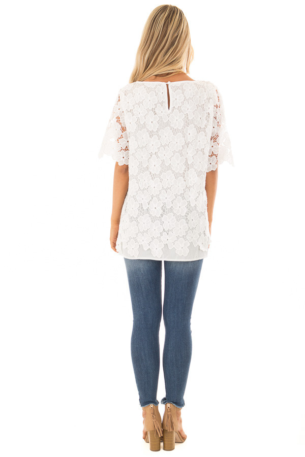 Off White Sheer Floral Lace Top back full body