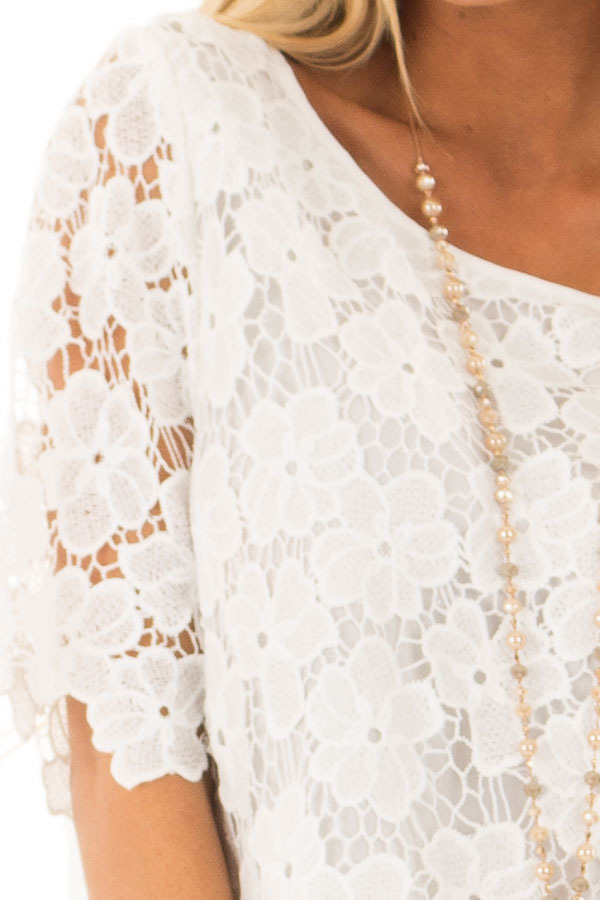 Off White Sheer Floral Lace Top detail