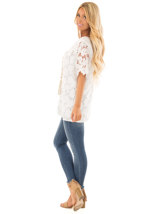 Off White Sheer Floral Lace Top side full body