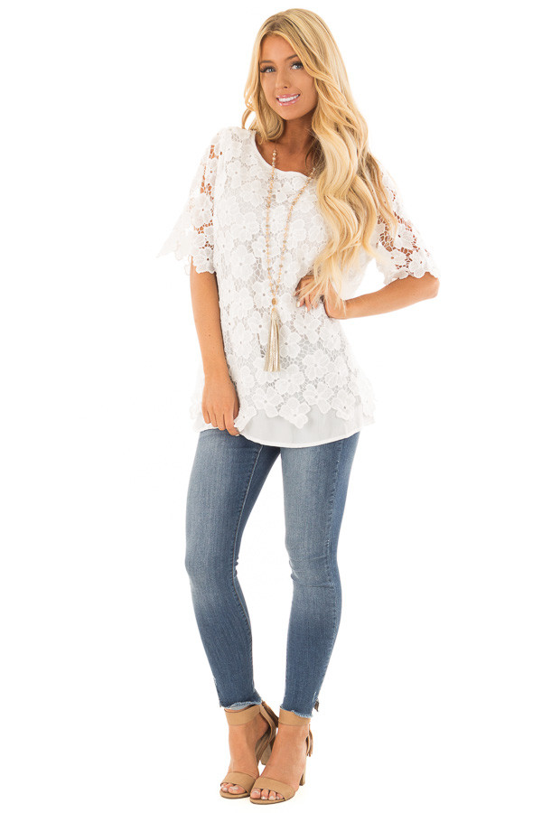 Off White Sheer Floral Lace Top front full body