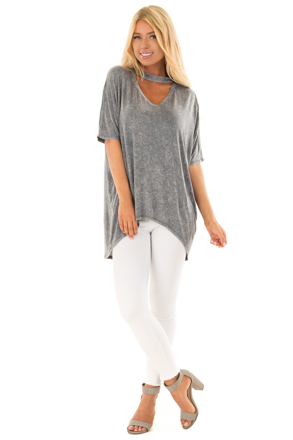 Slate Blue Mineral Wash Hi Low V Neck Top with Choker front full body