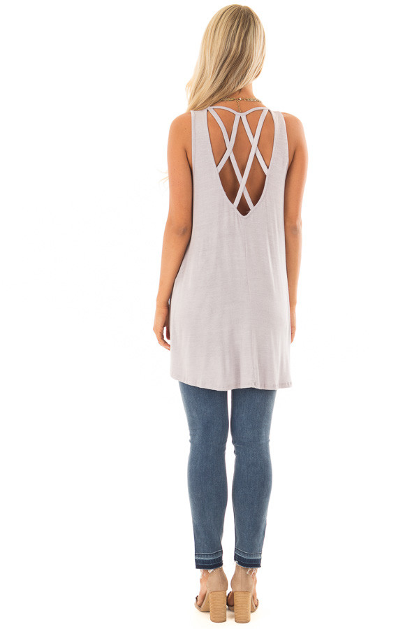 Vintage Lavender Tunic Tank Top with Caged Back back full body