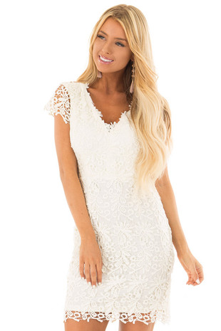 Ivory Lace Dress with Open Back front close up