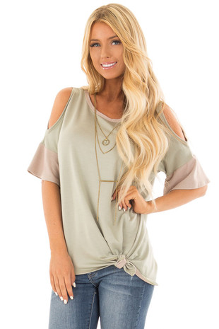 Light Olive Cold Shoulder Top with Mauve Trim front close up