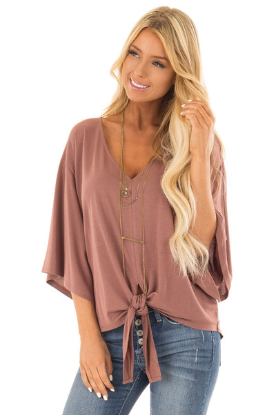 Cinnamon Half Sleeve Top with Front Tie front close up