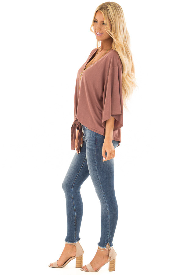 Cinnamon Half Sleeve Top with Front Tie side full body