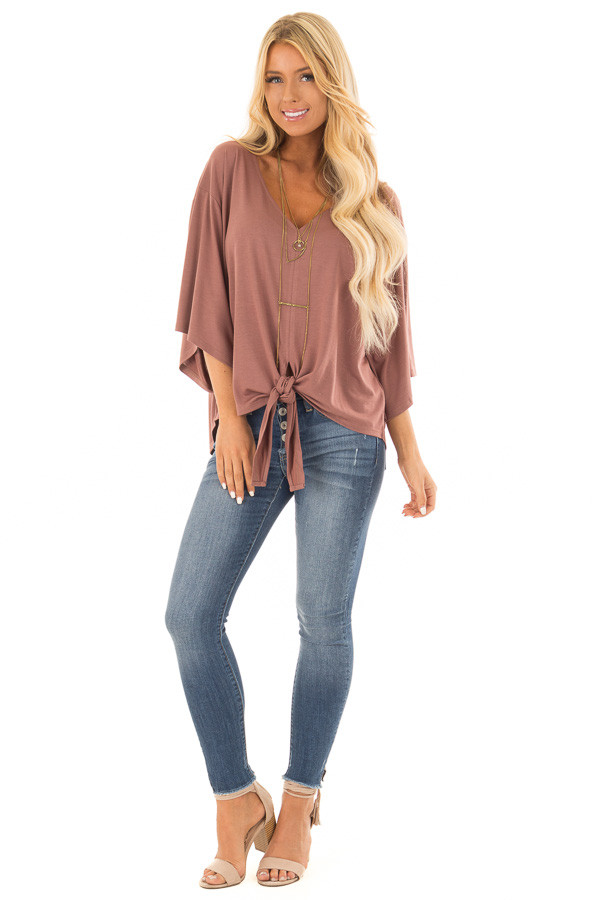 Cinnamon Half Sleeve Top with Front Tie front full body