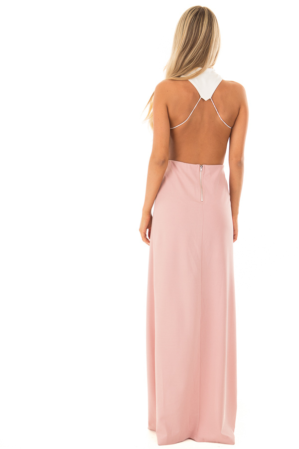 Dusty Rose and White Open Back Dress with High Slit back full body