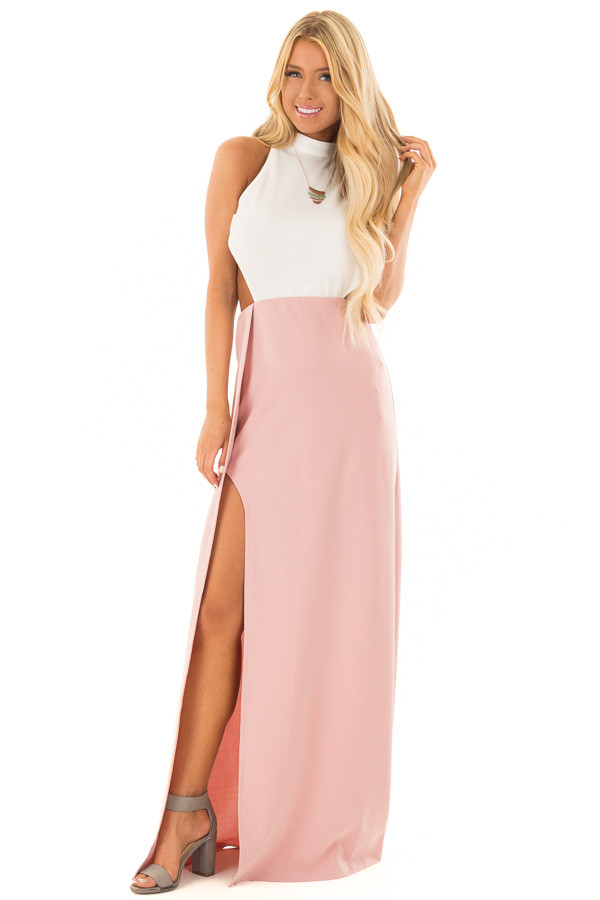 Dusty Rose and White Open Back Dress with High Slit front full body