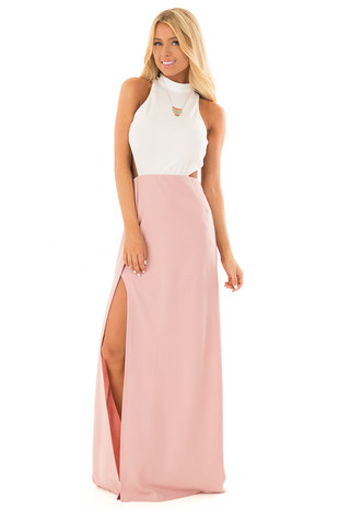 Dusty Rose and White Open Back Dress with High Slit front close up