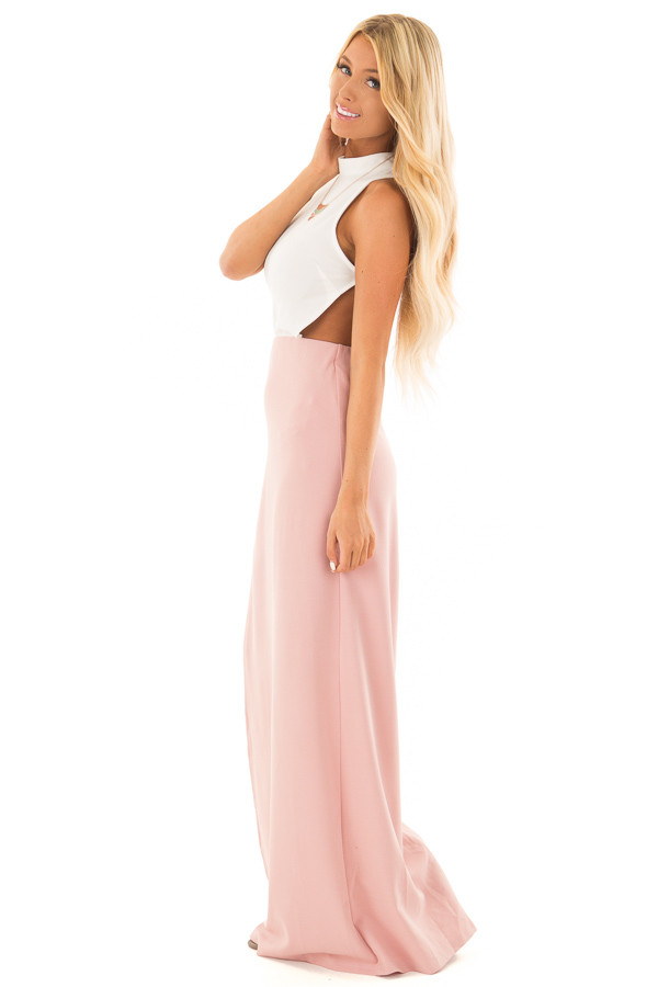 Dusty Rose and White Open Back Dress with High Slit side full body