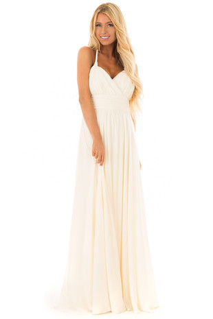 Vintage Cream Halter Maxi Dress front full body
