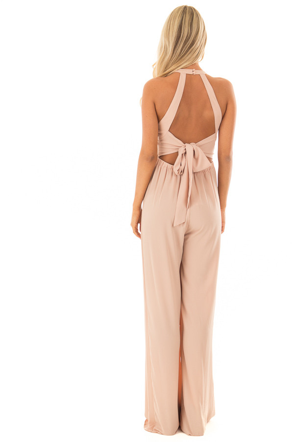 Taupe Halter Jumpsuit with Cutout Detail back full body