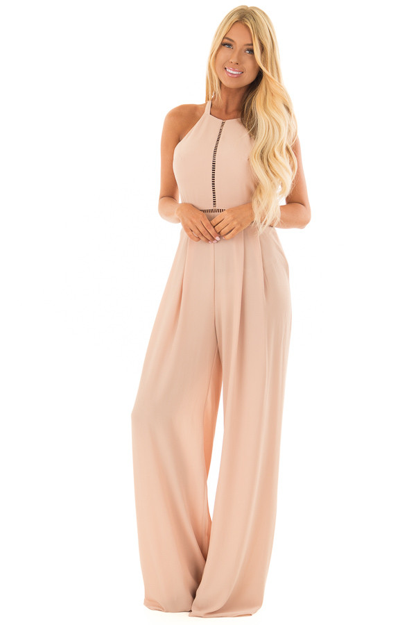 Taupe Halter Jumpsuit with Cutout Detail front full body