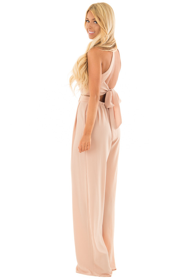 Taupe Halter Jumpsuit with Cutout Detail side full body