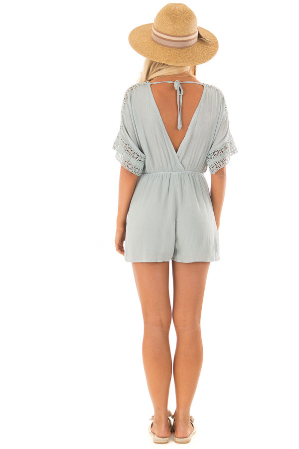 Dusty Mint Wrap Romper with Sheer Crochet Details back full body