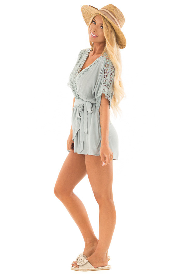 Dusty Mint Wrap Romper with Sheer Crochet Details side full body