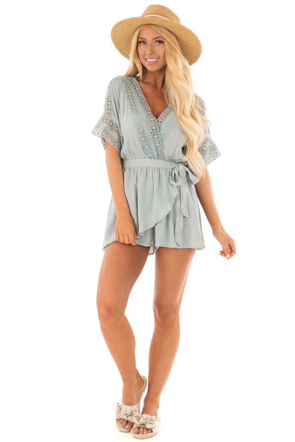 Dusty Mint Wrap Romper with Sheer Crochet Details front full body