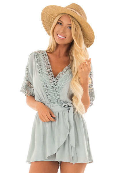 Dusty Mint Wrap Romper with Sheer Crochet Details front close up