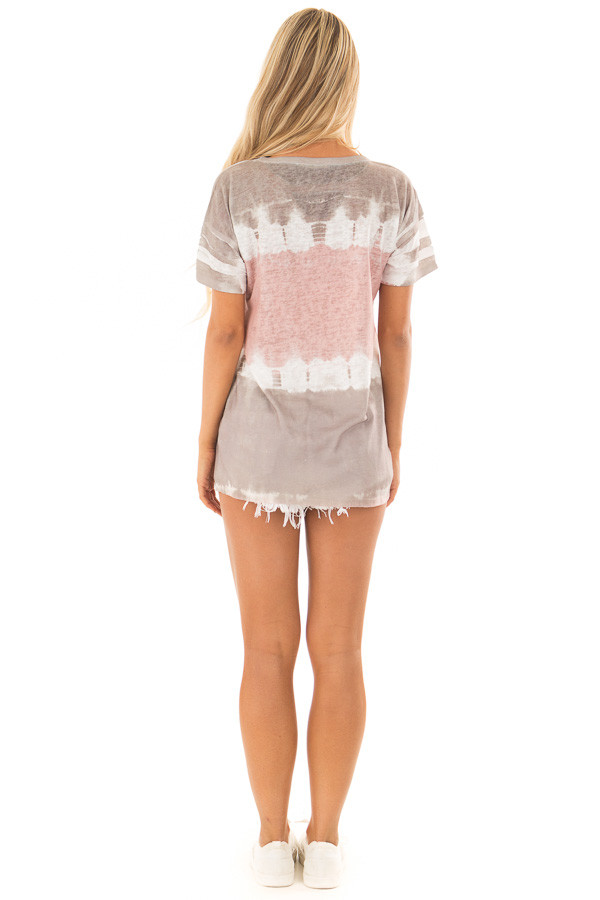 Ash Grey and Blush Tie Dye Top with Keyhole Neckline back full body