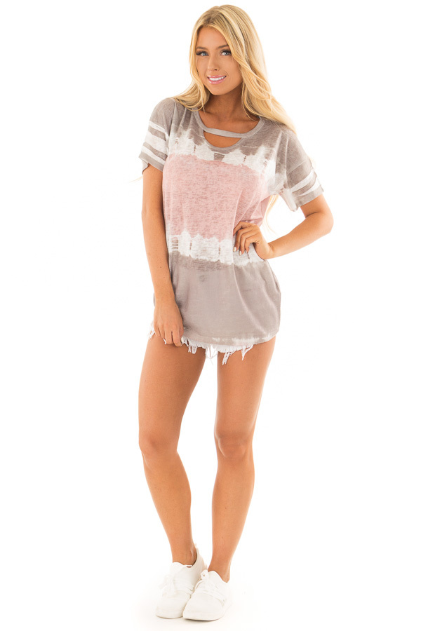Ash Grey and Blush Tie Dye Top with Keyhole Neckline front full body