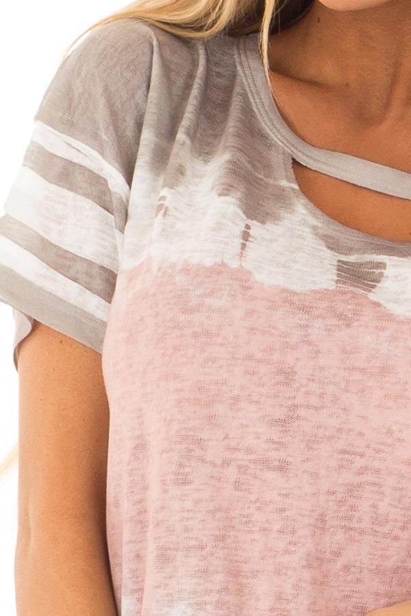 Ash Grey and Blush Tie Dye Top with Keyhole Neckline detail