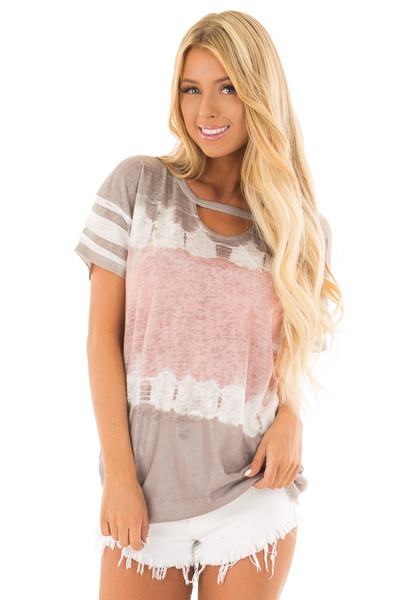 Ash Grey and Blush Tie Dye Top with Keyhole Neckline front close up