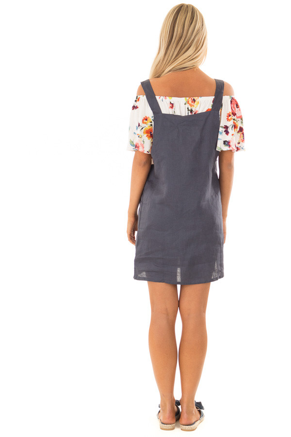 Navy Overall Dress with Front Pocket back full body