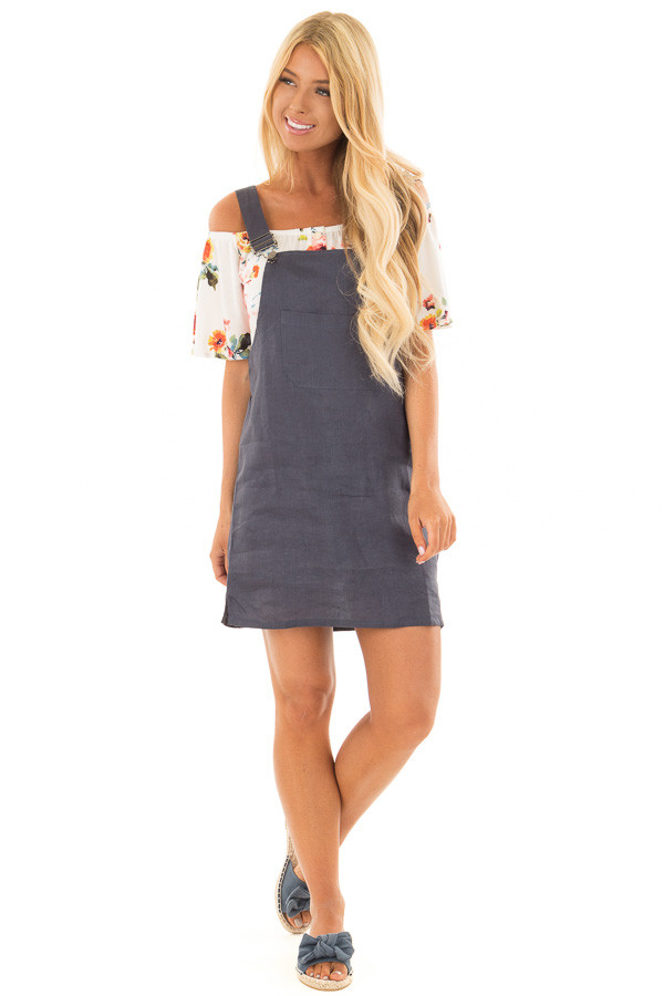 Navy Overall Dress with Front Pocket front full body