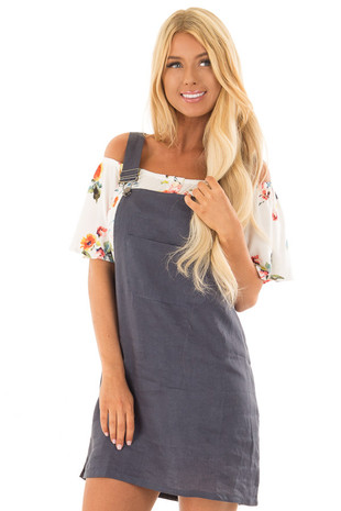Navy Overall Dress with Front Pocket front close up