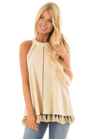 Beige Halter Tank with Tassel Fringe Detail back full body