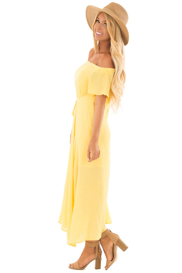 Sunshine Yellow Off the Shoulder Maxi Dress side full body