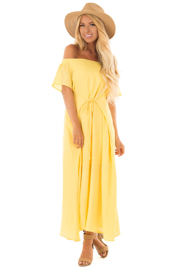 Sunshine Yellow Off the Shoulder Maxi Dress front full body