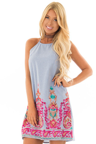 Light Denim Sleeveless Dress with Embroidery Detail front close up