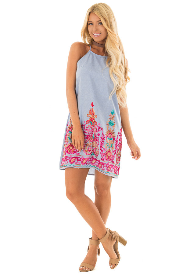Light Denim Sleeveless Dress with Embroidery Detail front full body
