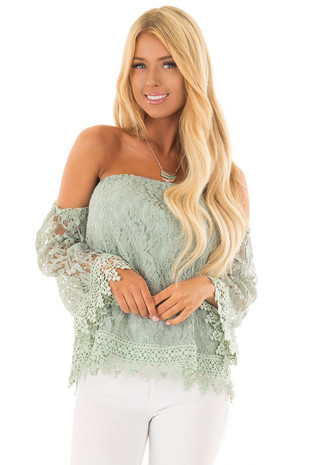 Sage Off the Shoulder Lace Top with Bell Sleeves front close up