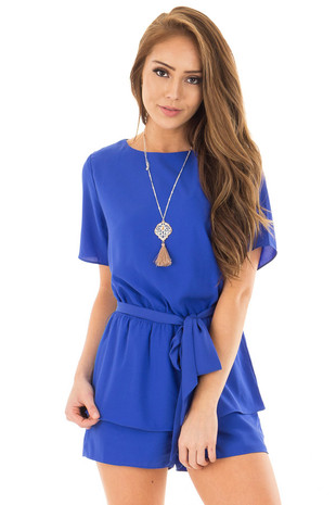 Cobalt Blue Short Sleeve Romper with Tie Detail front close up
