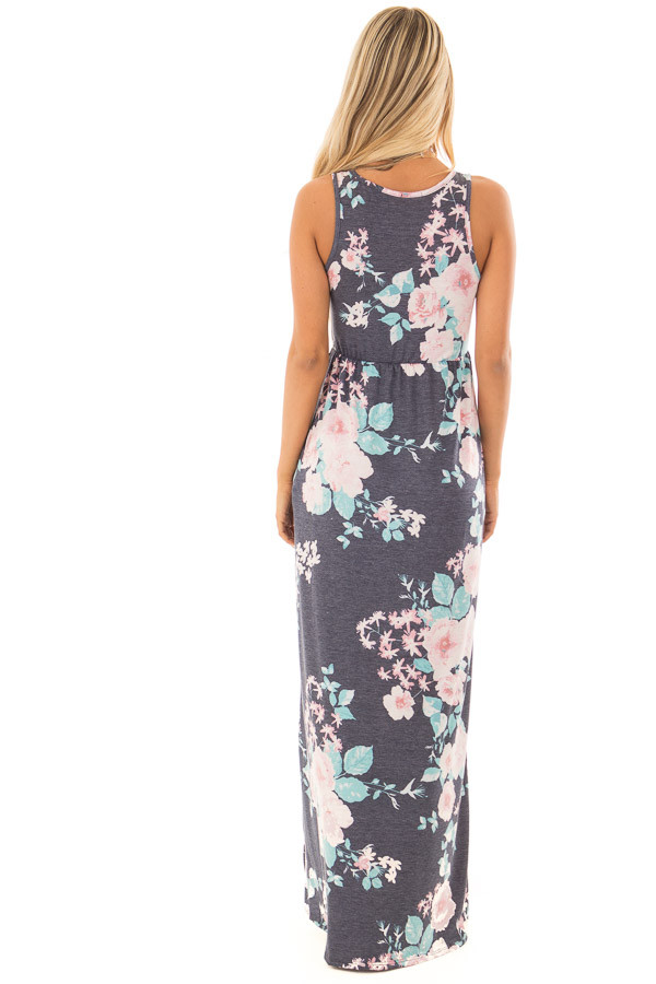 Navy Floral Print Maxi Dress with Hidden Pockets back full body
