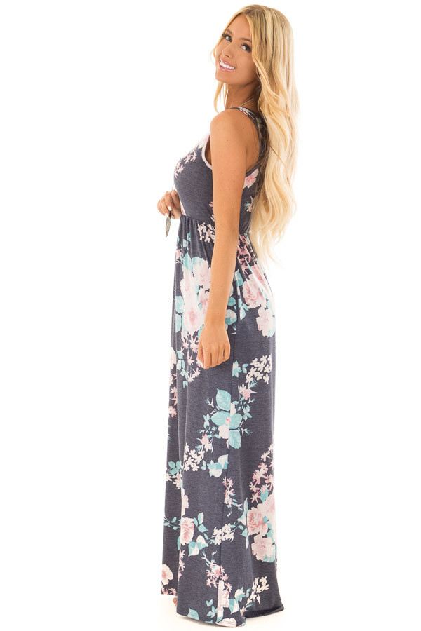 Navy Floral Print Maxi Dress with Hidden Pockets side full body