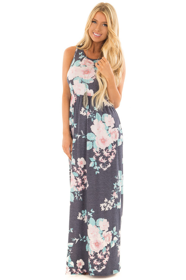 Navy Floral Print Maxi Dress with Hidden Pockets front full body