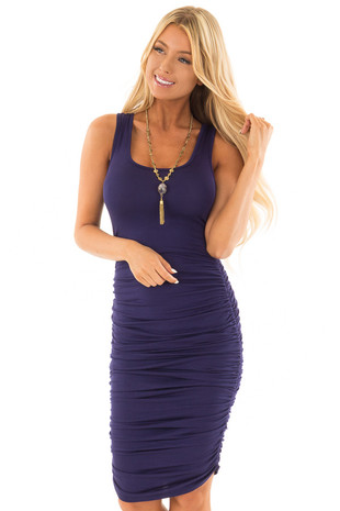 Navy Midi Dress with Side Ruching front close up