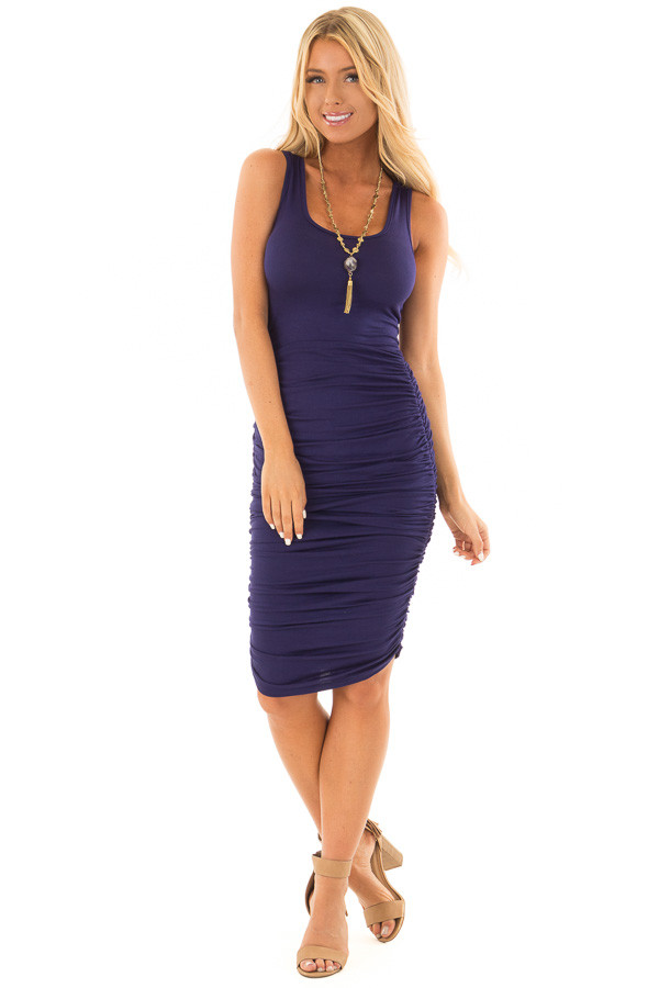 Navy Midi Dress with Side Ruching front full body